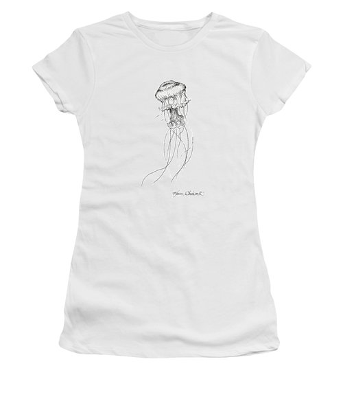Jellyfish Sketch - Black And White Nautical Theme Decor Women's T-Shirt