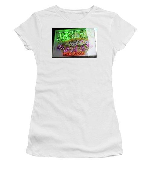 Jester Mardi Gras Sign Women's T-Shirt (Junior Cut) by Steven Spak