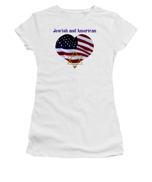 Jewish And American Flag With Star Of David Women's T-Shirt (Junior Cut) by Rose Santuci-Sofranko