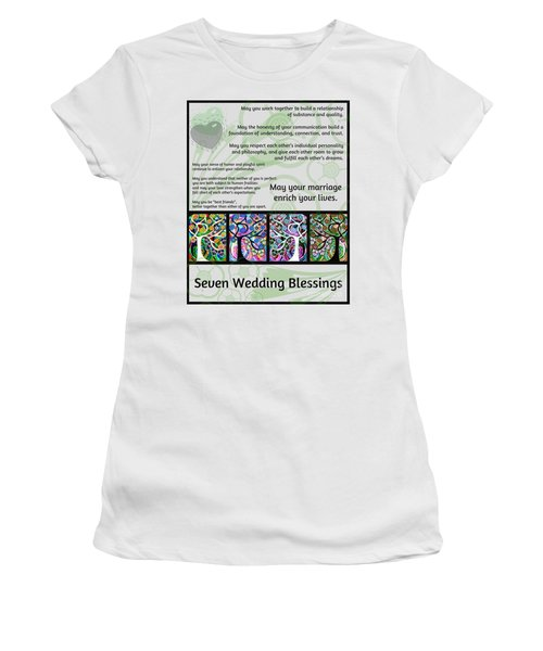 Jewish Seven Wedding Blessings Tree Of Life Hamsas Women's T-Shirt (Athletic Fit)