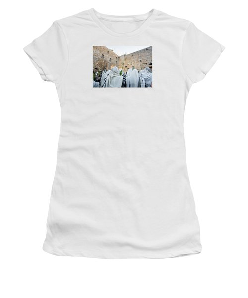Jewish Sunrise Prayers At The Western Wall, Israel 10 Women's T-Shirt (Athletic Fit)