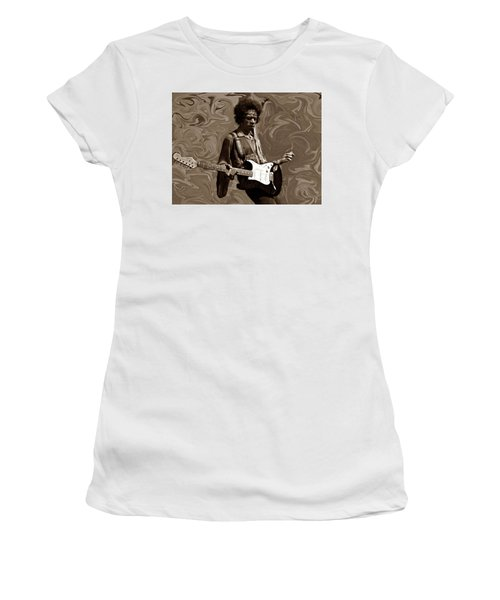 Women's T-Shirt (Junior Cut) featuring the photograph Jimi Hendrix Purple Haze Sepia by David Dehner