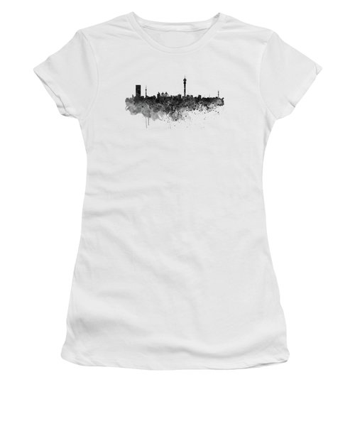 Johannesburg Black And White Skyline Women's T-Shirt