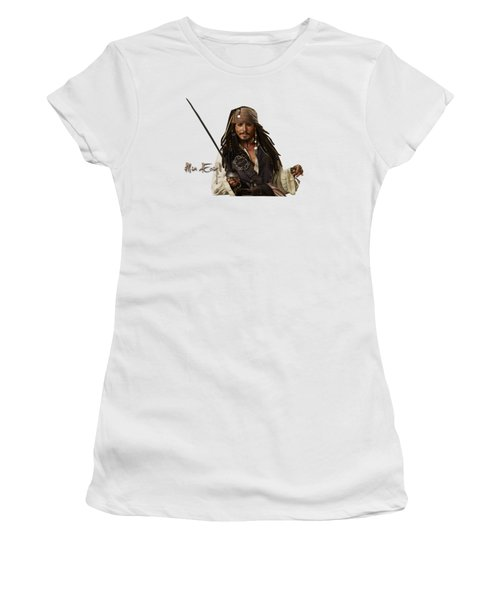Johnny Depp, Pirates Of The Caribbean Women's T-Shirt (Junior Cut) by Maria Astedt