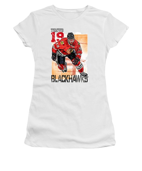 Jonathan Toews Women's T-Shirt (Junior Cut) by Maria Arango