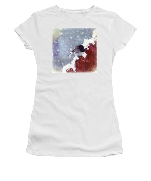 Women's T-Shirt (Junior Cut) featuring the digital art Junco In The Snow, Square by Christina Lihani
