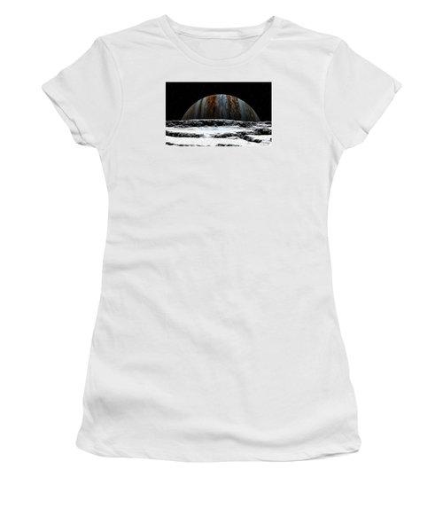 Women's T-Shirt (Junior Cut) featuring the digital art Jupiter Rise At Europa by David Robinson