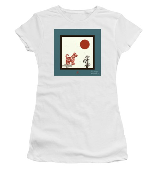 Women's T-Shirt (Athletic Fit) featuring the digital art Kanji Dog On Blue by Nola Lee Kelsey