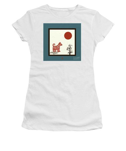 Kanji Dog On Blue Women's T-Shirt