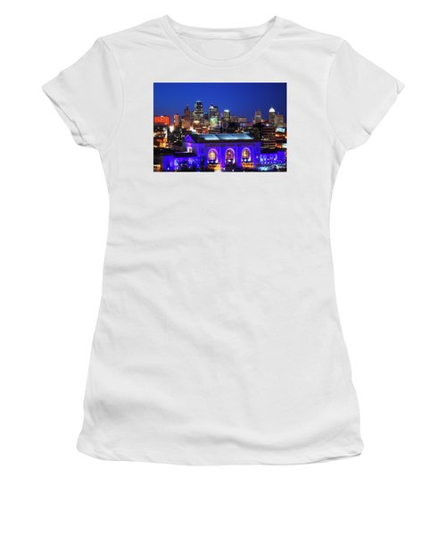 Kansas City Skyline At Night Women's T-Shirt (Junior Cut) by Matt Harang