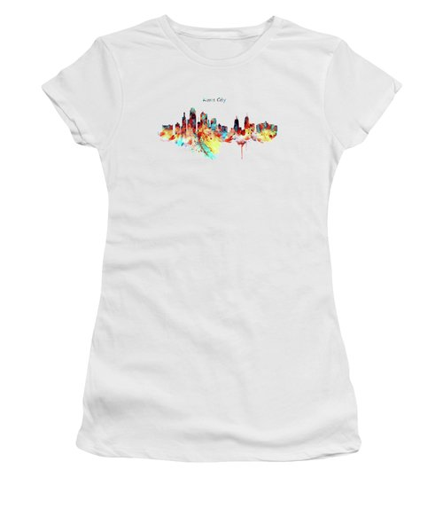 Kansas City Skyline Silhouette Women's T-Shirt (Junior Cut) by Marian Voicu