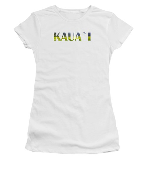 Kauai Letter Art Women's T-Shirt (Junior Cut) by Saya Studios