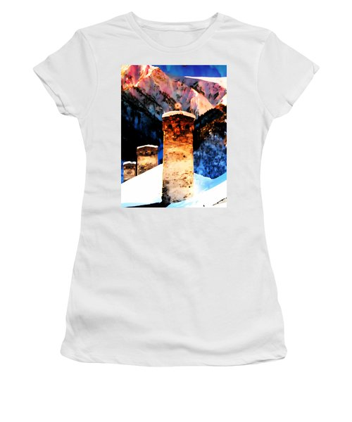 Women's T-Shirt (Junior Cut) featuring the photograph Keeper Of The Light Adishi Svaneti by Anastasia Savage Ealy
