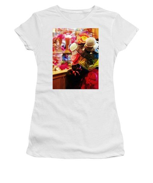 Women's T-Shirt (Junior Cut) featuring the photograph kentucky Derby Hats by Robin Regan