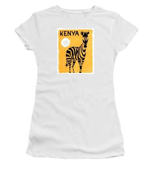 Kenya Africa Vintage Travel Poster Restored Women's T-Shirt (Athletic Fit)