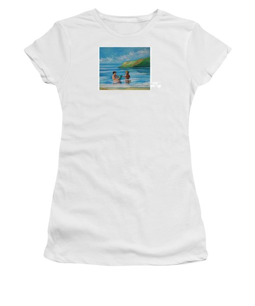 Kids Playing On The Beach Women's T-Shirt