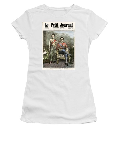 Women's T-Shirt (Athletic Fit) featuring the drawing King Chulalongkorn by Granger