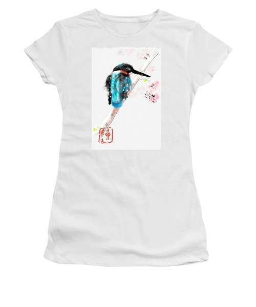 Kingfisher In Late Spring Snow Women's T-Shirt (Athletic Fit)