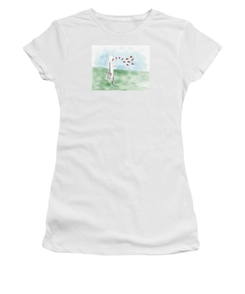 Women's T-Shirt (Junior Cut) featuring the photograph Kisses And Love   by Haleh Mahbod