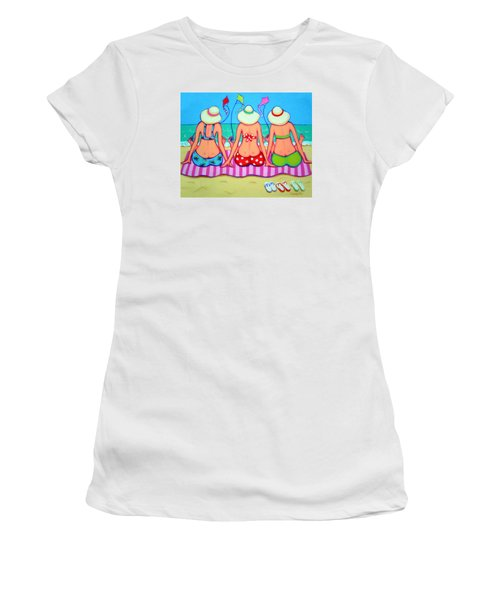 Kite Flying 101 - Girlfriends On Beach Women's T-Shirt (Junior Cut) by Rebecca Korpita
