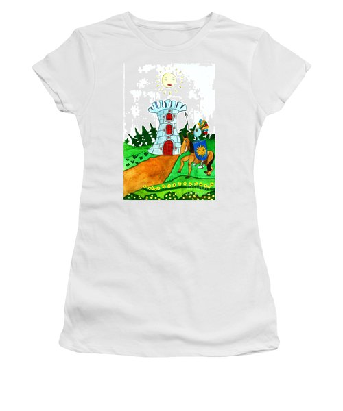 Brave Knight-errant And His Funny Wise Horse Women's T-Shirt (Junior Cut) by Don Pedro De Gracia