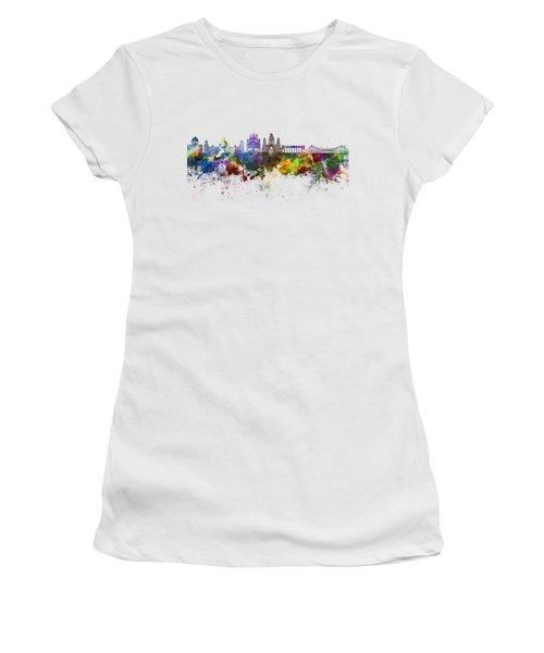 Kolkata Skyline In Watercolor Background Women's T-Shirt