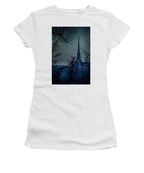 La Mole Antonelliana-blu Women's T-Shirt (Athletic Fit)