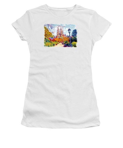 La Sagrada Familia - Park View Women's T-Shirt (Junior Cut) by Marian Voicu