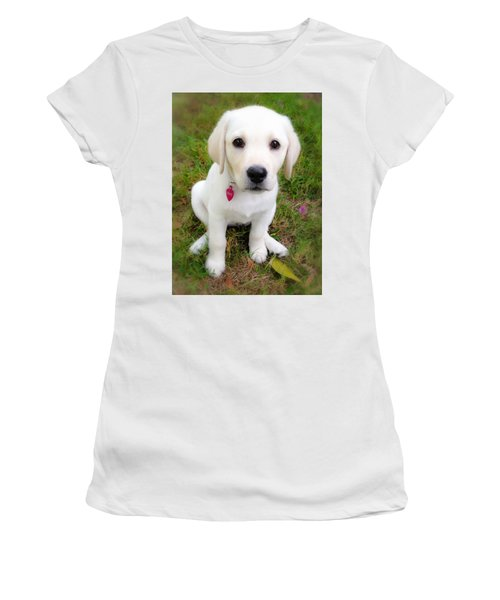 Women's T-Shirt (Junior Cut) featuring the photograph Lab Puppy by Stephen Anderson