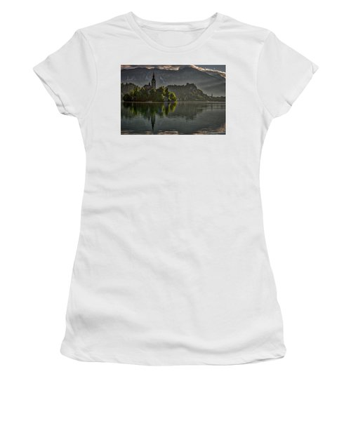 Women's T-Shirt (Athletic Fit) featuring the photograph Lake Bled Morning #3 - Slovenia by Stuart Litoff