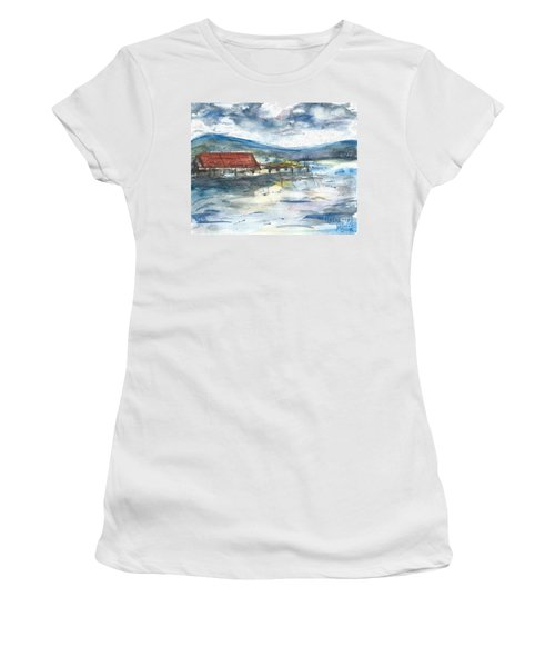 Women's T-Shirt featuring the painting Lake Leatherwood Eureka Springs Boat Dock  by Reed Novotny