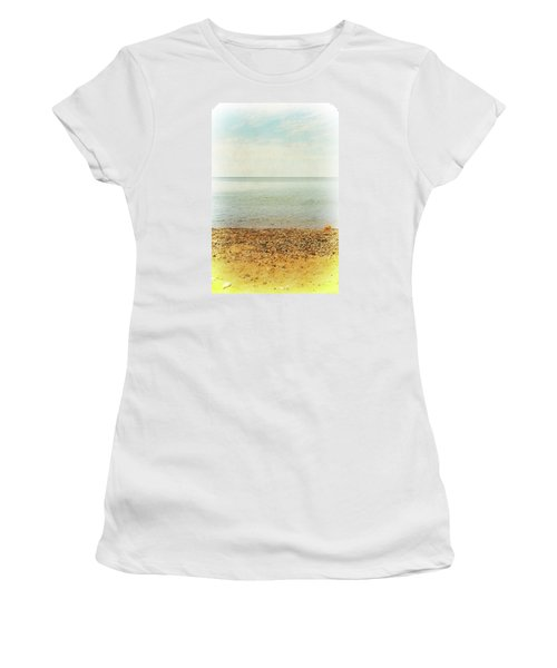 Women's T-Shirt (Athletic Fit) featuring the photograph Lake Michigan With Stony Shore by Michelle Calkins