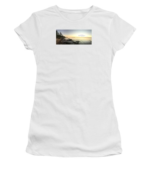 Women's T-Shirt (Junior Cut) featuring the photograph Lake Superior Evening Sky by Paula Brown