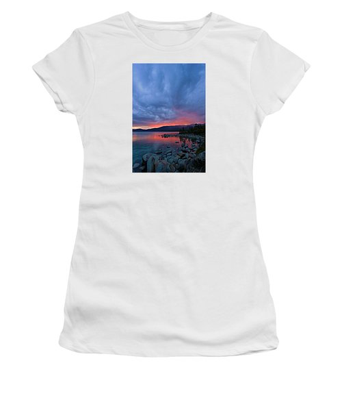 Lake Tahoe Sunset Portrait 2 Women's T-Shirt (Junior Cut) by Sean Sarsfield