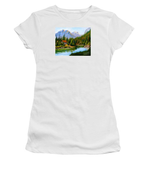 Lakeside Cabin Women's T-Shirt (Athletic Fit)
