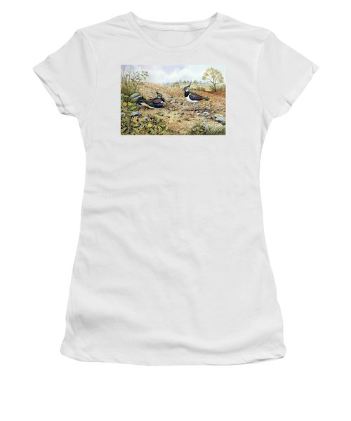 Lapwing Family With Goldfinches Women's T-Shirt (Junior Cut) by Carl Donner
