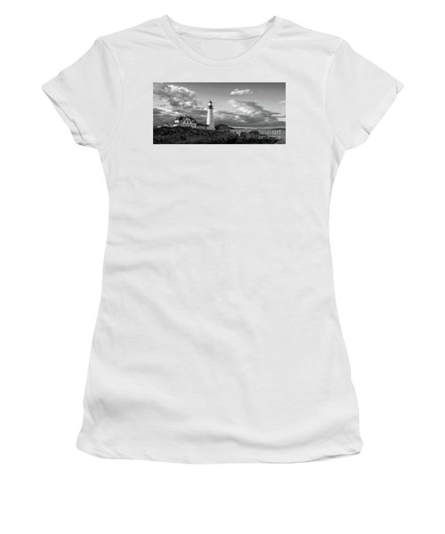 Women's T-Shirt (Junior Cut) featuring the photograph Late Afternoon Clouds, Portland Head Light  -98461 by John Bald