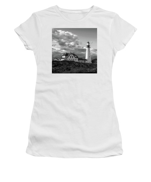 Women's T-Shirt (Junior Cut) featuring the photograph Late Afternoon Clouds, Portland Head Light  -98461-sq by John Bald