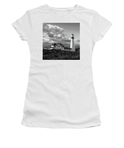 Late Afternoon Clouds, Portland Head Light  -98461-sq Women's T-Shirt