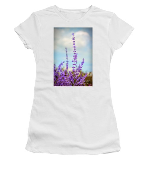 Women's T-Shirt (Athletic Fit) featuring the photograph Lavender To The Sky by Kerri Farley