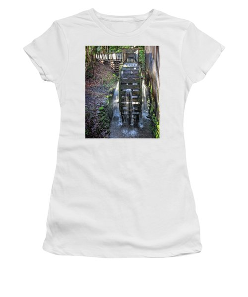 Women's T-Shirt (Athletic Fit) featuring the photograph Leaky Mill Wheel by Alan Raasch