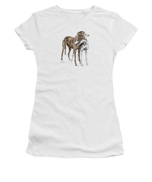 Lean On Me - Greyhound Dogs Print Color Tinted Women's T-Shirt (Athletic Fit)