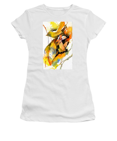 Women's T-Shirt (Junior Cut) featuring the painting Leaves by Rae Andrews