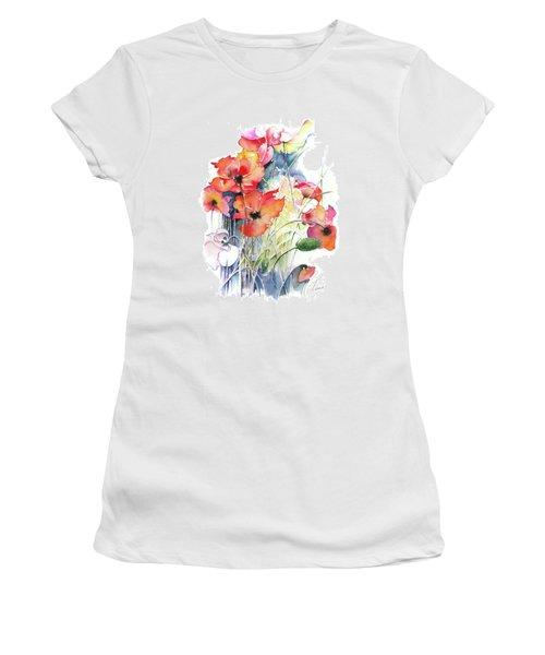 Women's T-Shirt (Junior Cut) featuring the painting Leaving The Shadow by Anna Ewa Miarczynska