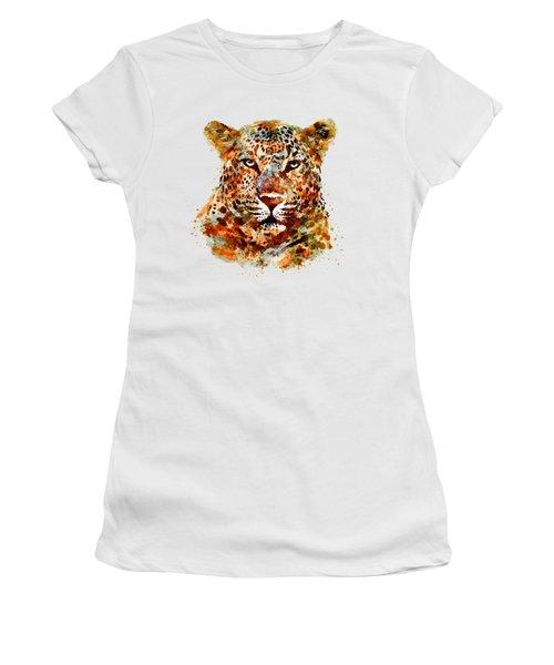 Leopard Head Watercolor Women's T-Shirt (Junior Cut) by Marian Voicu