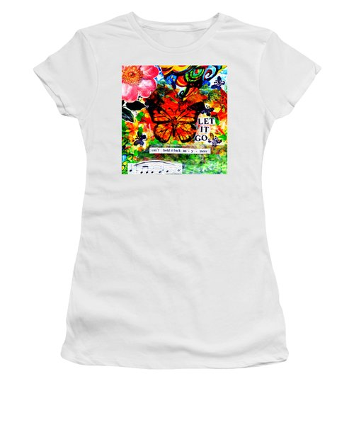 Women's T-Shirt (Junior Cut) featuring the mixed media Let It Go by Genevieve Esson