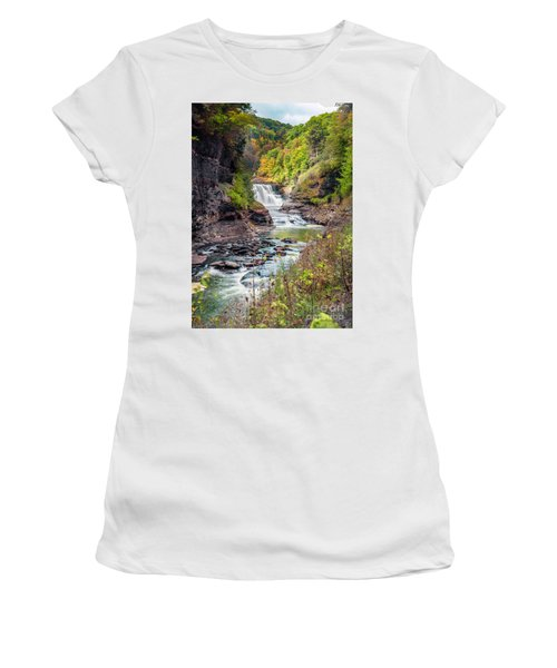 Letchworth Lower Falls In Autumn Women's T-Shirt (Athletic Fit)