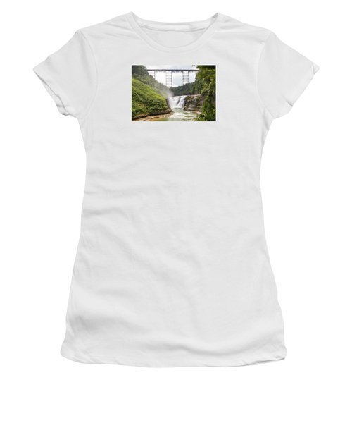 Women's T-Shirt featuring the photograph Letchworth Upper Falls by Michael Chatt