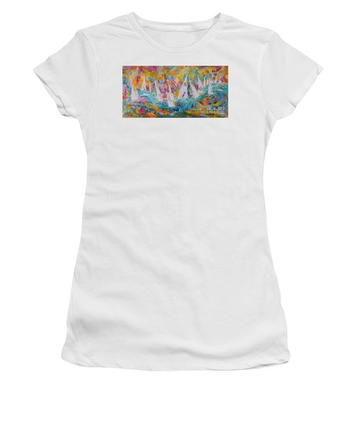 Women's T-Shirt (Junior Cut) featuring the painting Lets Go Sailing by Lyn Olsen