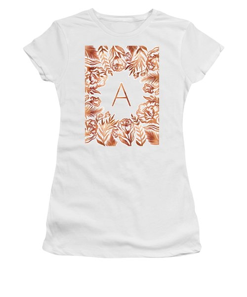 Letter A - Rose Gold Glitter Flowers Women's T-Shirt (Athletic Fit)